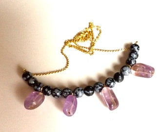 Obsidian snowflake and ametrine necklace/ Semiprecious stone necklace/ Adjustable lenght necklace/ Gold filled necklace