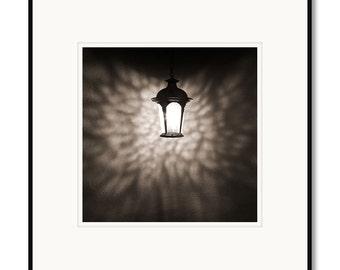 Black and white photography, sepia prints, Santa Fe, New Mexico, rustic lantern, still life photography, framed photography, kitchen art