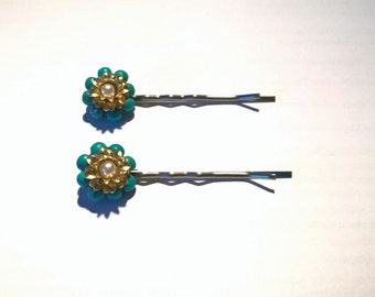 Turquoise hair pins wife gift gift for her womens gift something blue hair clips women vintage bobby pins vintage hair pins sister gift