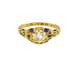 Victorian diamond solitaire ring with blue enamel circa 1855.