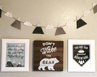 Banner, Mountains, Clouds, Nursery, Woodlands, Baby Boy, Baby Girl