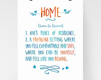 Home wall art, home definition, home quote, housewarming gift, calligraphy art, dictionary art print, watercolor