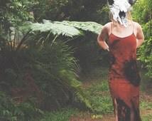 POST-APOCALYPTIC Maxi Dress - Steampunk - Grunge - Punk Clothing - Tie Dye Rust - Orange/Black - Gothic - Spaghetti Strap - Khaleesi Split