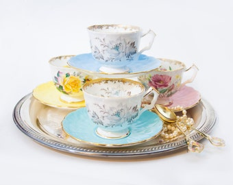 SALE Aynsley Tea Cup and Saucer Set, Tea for Four, Vintage Tea Party, Pink Blue Yellow Pastel Floral Roses, Instant Collection