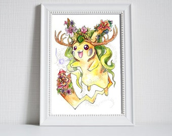 Kokiri-Chu! Pikachu and Kokiri's Emerald/spiritual stone of the Forest, Pokemon and The Legend of Zelda Ocarina of Time Crossover print
