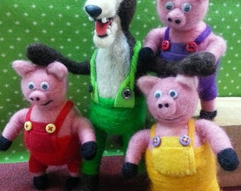 Needle Felted Big Bad Wolf and the Three Little Pigs