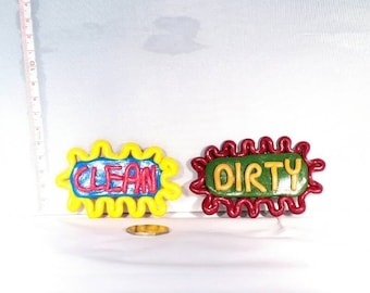 Dirty and clean dishwasher magnets (set of 2). Made from Fimo/ Polymer clay.