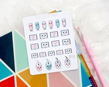 Kawaii computer laptop sticker set - 23 mini glossy stickers for planners