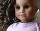 "Fancy Heart Earring Dangles American Made to fit 18"" Girl Dolls"