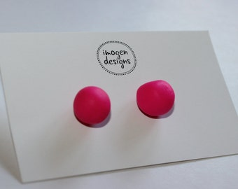Polymer Clay Pink earrings studs