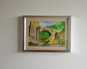 Devil's Bridge-Ariège-France-Landscape Watercolor Painting