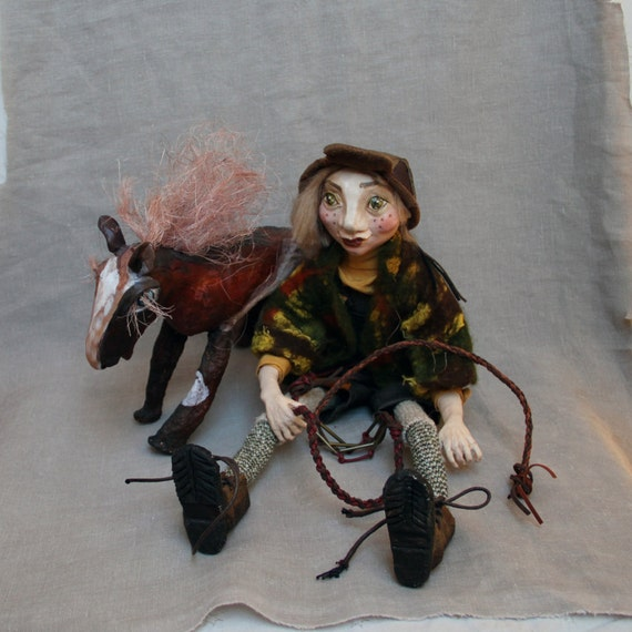 Poseable Art Doll Clay/ Art Doll Brothers Grimm Fairy-tale Characters/ Handmade Polymer Clay Doll/ Dolls Sculpture Boy And Horse/ Doll Pin