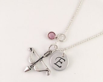 Personalized Crossbow Necklace, Initial and Crossbow necklace, personalized jewelry, gift for her, walking dead, the arrow