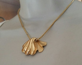 Vintage Monet, Signed, Gold Chain and Shell Pendant, both are signed.