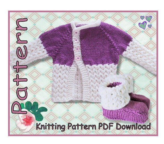 Knitted Jersey Patterns : Baby Jersey and Booties knitting pattern PDF download Baby