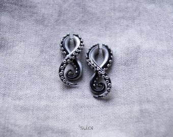 Tentacle fake gauge earrings silver black fake plugs fake gauges octopus