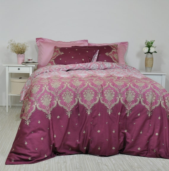 Damask Bedding In Dusty Pink Maroon Marsala For Full Queen