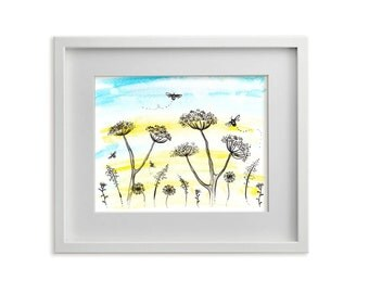 Meadow and Bees, Floral Print, Flowers, Leaves, Blue and Yellow Art, Wall Art, Contemporary Art, Field, Flora, Bumblebees, Sky, Modern Decor