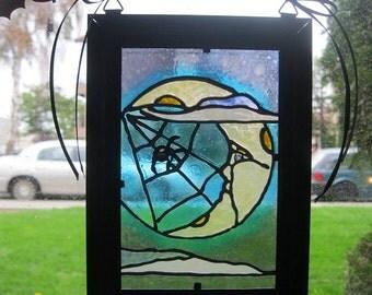 "Autumn Moon Hand-Painted ""Stained Glass Window"" Suncatcher"