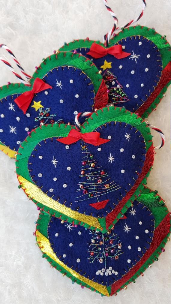 Items Similar To Felt Tree Ornaments Felt Heart Ornaments