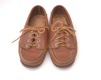 Eastland Leather Boat Shoes Women's Size 5.5 Preppy Shoes Womens Boat Shoes Brown Leather Flats