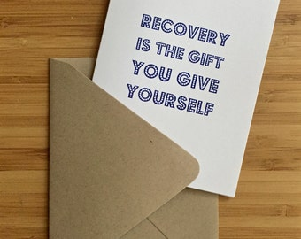 Recovery Card with blue lettering. Sober recovery card for anyone overcoming addiction, getting sober, in na or aa recovery.