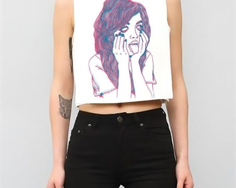 Over It- 3D Color- Womens- Grunge- Cut Off Crop Top- Tumblr- Hipster