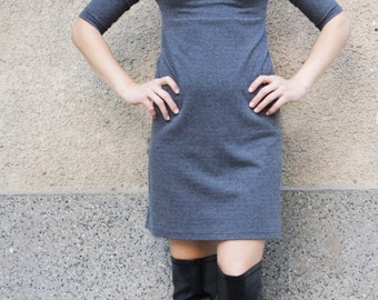 Winter Dress, Autumn Dress, Casual Grey Dress, Turtleneck Dress, Pencil Dress, Knee Length Dress, Midi Dress, Bodycon Dress, Fitted Dress