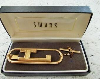 Swank Vintage Large L Goldtone Tie Bar, button chain and clip, original box
