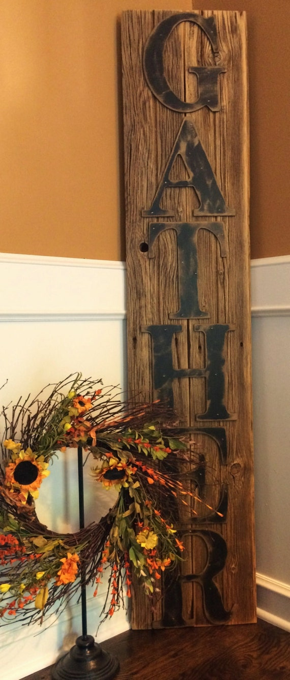 barn wood crafts ideas rustic gather sign on reclaimed barn wood vertical 3423