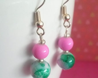 Pink and green earrings, two beads dangling earrings