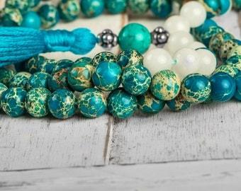 Mantra Mala, Blue Sea Sediment - Buddhist Mala Necklace, Meditation Beads, Zen Mala, Yoga Mala Necklace, Gemstone Mala Prayer Beads