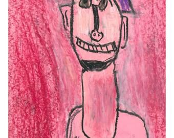 Modigliani - Oil Pastel Original