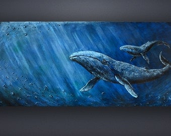 Blue whale painting | Etsy