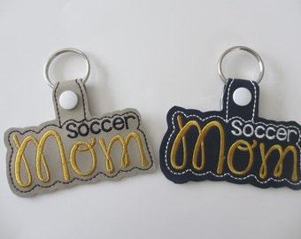 Soccer Mom Keychain, Soccer Key Chain, Soccer Key Fob, Soccer Gift, Soccer Mom Bag Tag, Soccer Snap Tag