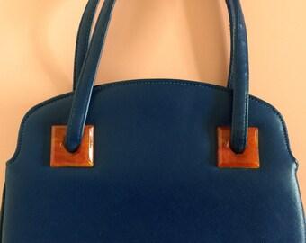 50's-60's Cobalt Blue Handbag by Garay with Orange Bakelite Squares around handles