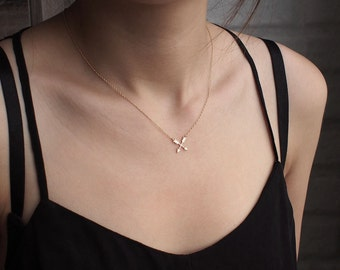 Cross Arrow Necklace, Dainty Minimal Cross Necklace, Simple Layering Necklace in Sterling Silver #D67