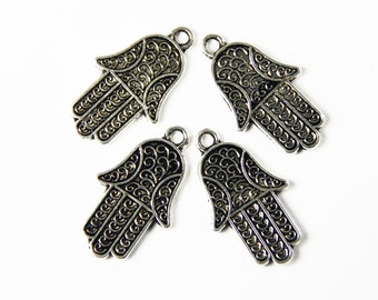 4x Tibetan Silver Hamsa Hand Charms - 25x15mm - Hand Of Fatima - Jewelry Supplies - Charms - Craft Supplies