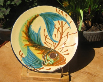 Old plate fish fish plate platter art wall plate majolica gift fishing man primitive Germany tradition large fish plate beige