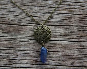 Bronze Blue Crystal Necklace / Mandala Necklace / Bohemian Necklace / Quartz Necklace / Titanium Crystal Necklace / Aura Quartz Necklace