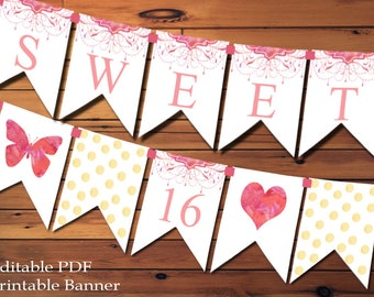 Sweet 16 Banner Sweet Sixteen Banner Watercolor Flowers Pink And Gold Banner Party Decoration Party Banner Sweet 16 Sign