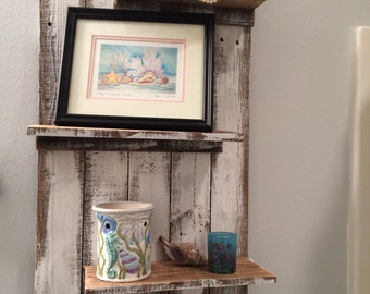 Trinket Shelf/White/ Reclaimed Wood/Three shelves