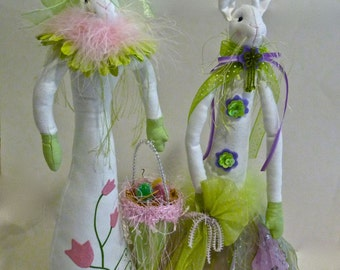 EASTER RABBITS ~ TALL Easter Rabbits ~ Hand Made ~ Vintage ~ Adorable Easter Decor ~