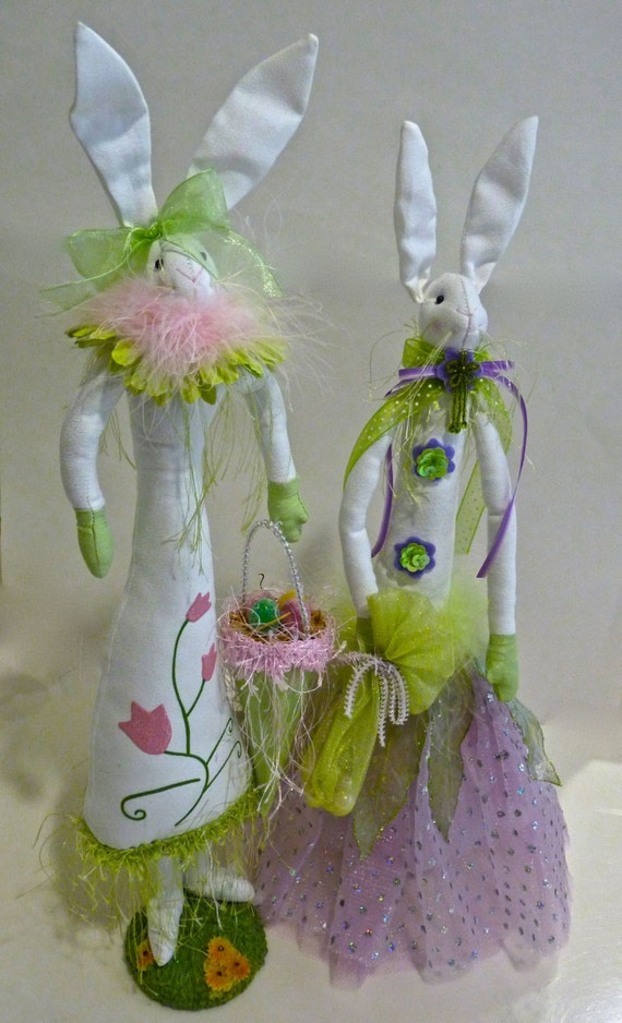 EASTER RABBITS PAIR ~ Easter Bunny ~ Tall Easter Rabbits ~ Hand Made ~ Vintage ~ Adorable Easter Decor ~ Easter Decorations ~ Home Decor