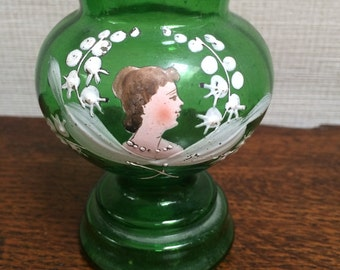 Vintage Green Glass Vase Painted with Lilly of the Valley and Lady