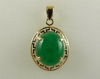 Green Jade 12mm x 9.8mm Pendant 14k Yellow Gold