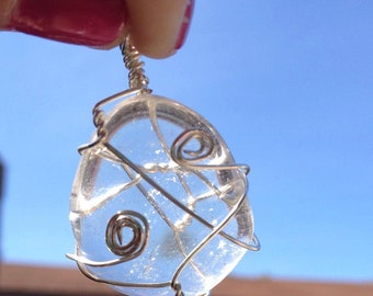 Clear Quartz Crystal Pendant Wire Wrapped