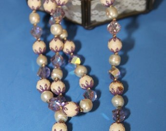 Beaded necklace with aurora borealis crystals