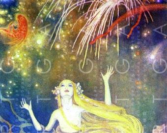 MERMAID STUNNED By Fireworks. Vintage Illustration Little Mermaid Fairy Tale. Mermaid Art. Digital Mermaid Download.