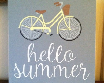 "Wood sign Hello Summer 12"" x 12"" bicycle summer wood sign gray bicycle summer sign summer wall decor bicycle wall decor"